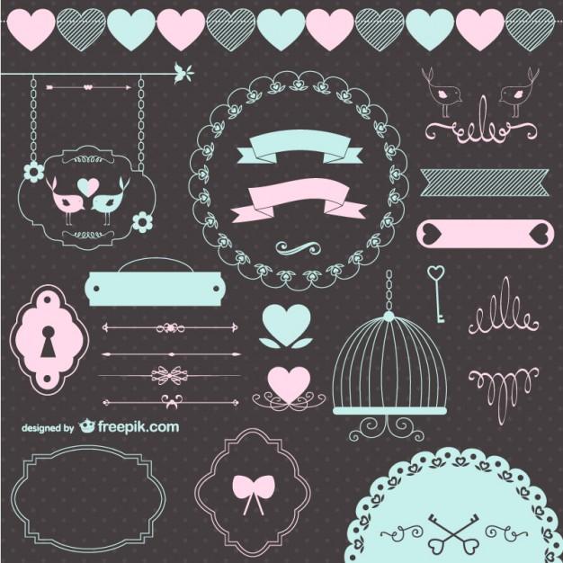 結婚式レトロなグラフィック要素を愛する - freepik